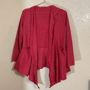 LVR   Red Organic Cotton Blend Open Cardigan XS
